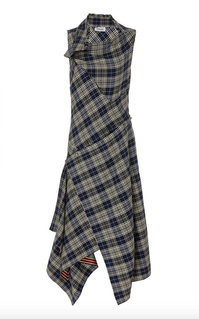 Asymmetric Plaid Crepe Shirt Dress