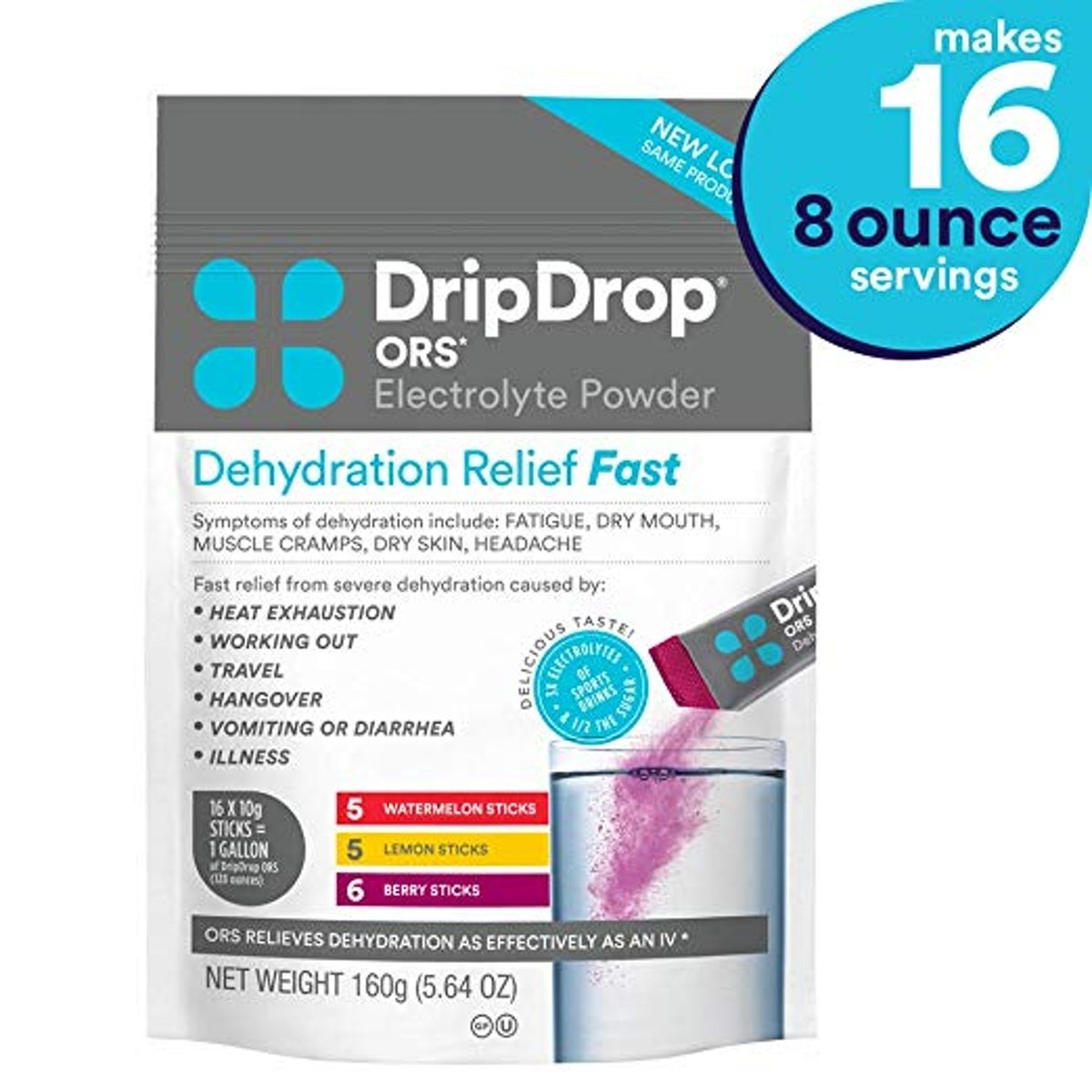 DripDrop ORS Electrolyte Hydration Powder Sticks (16-Pack)