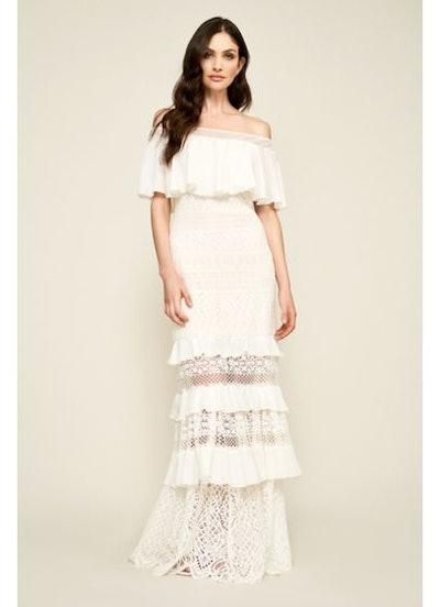 Tadashi Shoji Alexia Tiered Lace Off-the-Shoulder Wedding Dress