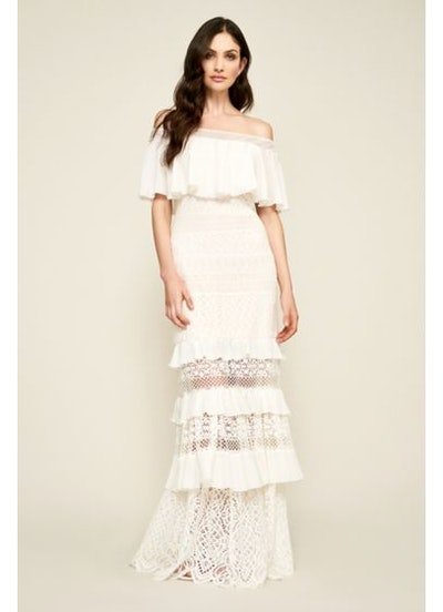 Tadashi Shoji Alexia Tiered Lace Off-the-Shoulder Wedding Dress
