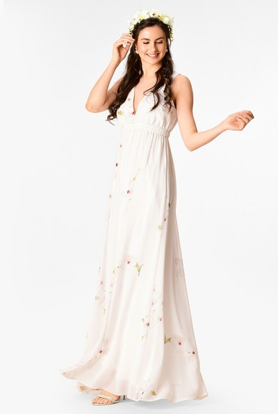 Floral Print Georgette Empire Maxi Dress