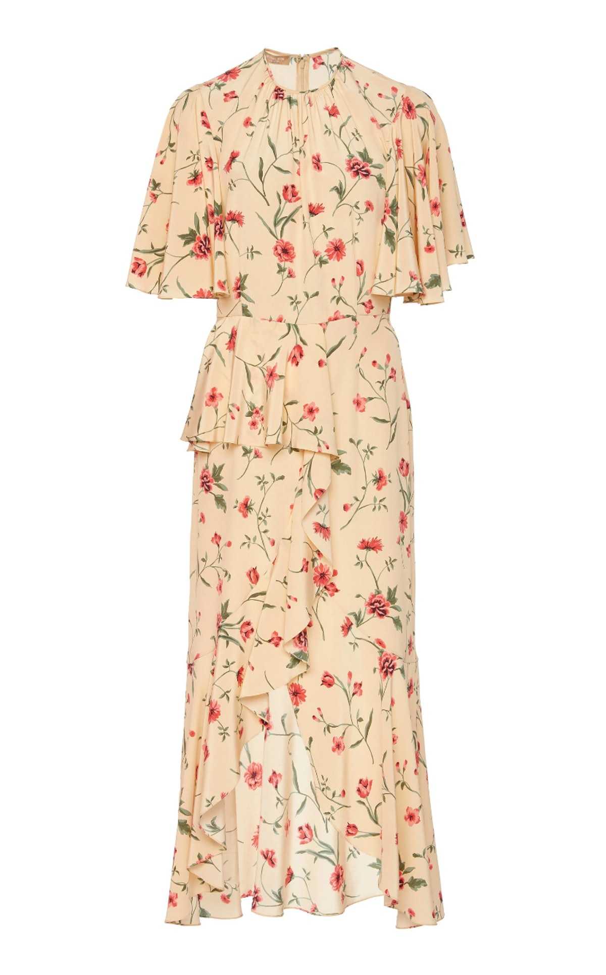 Ruffled Floral-Print Silk-Crepe Midi Dress