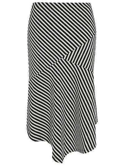 Black Striped Textured Midi Skirt