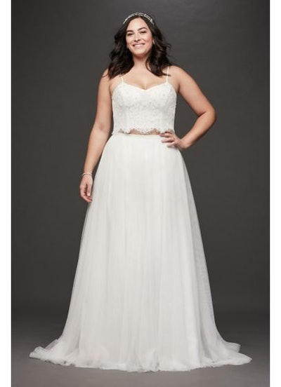 Galina Lace and Tulle Two-Piece Plus Size Wedding Dress
