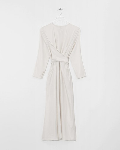 White Gathered Waist Dress