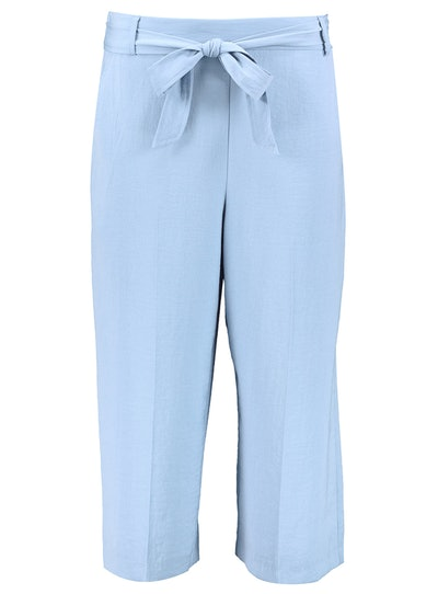 Pale Blue Twill Cropped Trousers