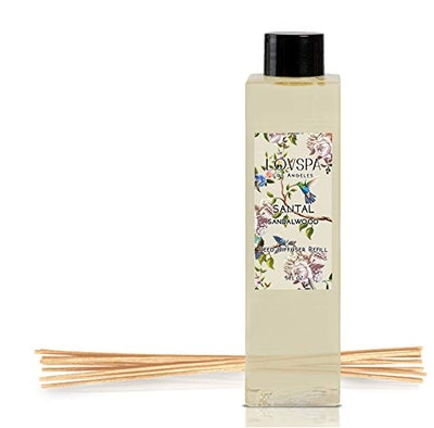 LOVSPA Santal (Sandalwood) Reed Diffuser Oil Refill with Replacement Reed Sticks