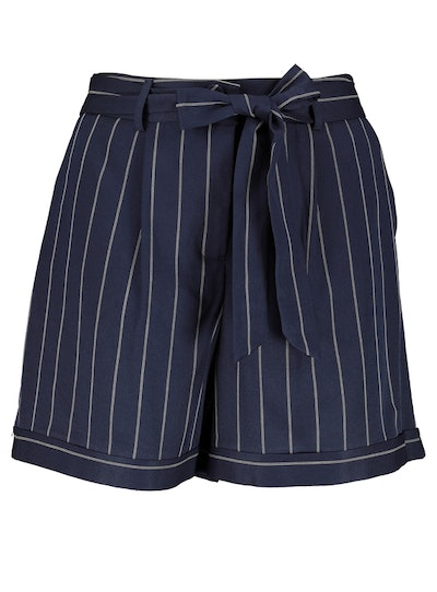 Navy Pinstripe Belted Shorts