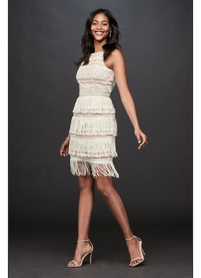 Aidan Mattox Crochet High-Neck Sheath Dress with Fringe