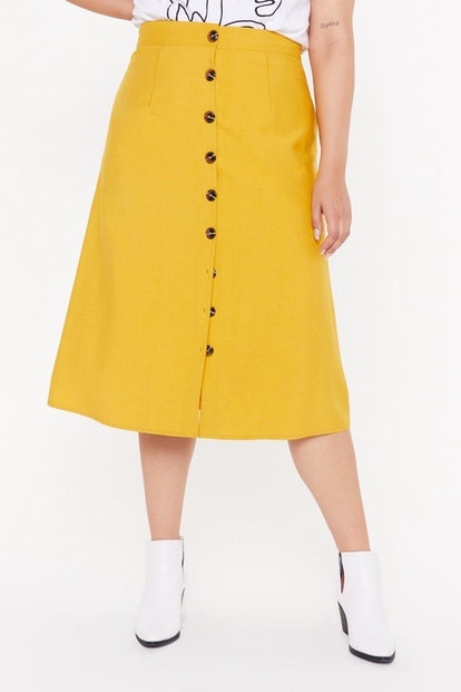 Let's Get Button-Down to Business Plus Midi Skirt