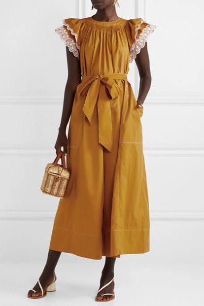 Landon Ruffled Broderie Anglaise-Trimmed Jumpsuit