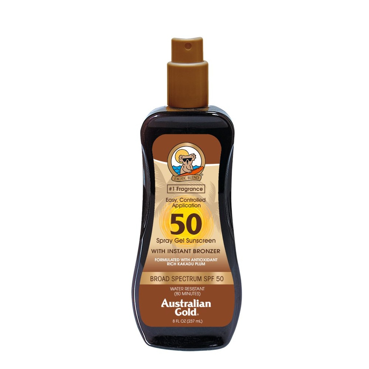 Australian Gold Spray Gel Sunscreen With Instant Bronzer SPF 50