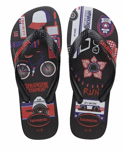 'Stranger Things' Black Flip Flops
