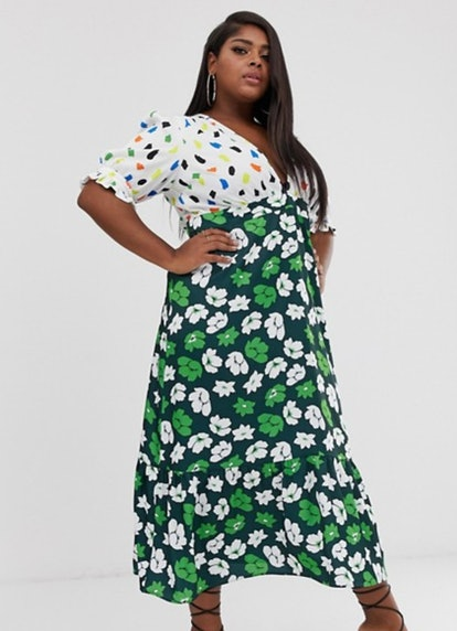 ASOS DESIGN Curve Plunge Tea Maxi Dress with Pep Hem in Mixed Print
