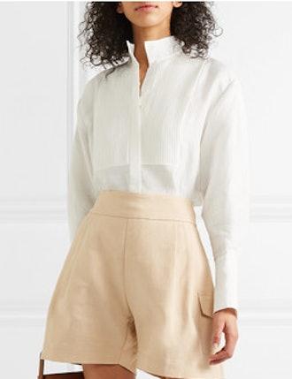 Pintucked Linen-Blend Shirt