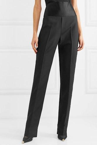 Satin-Paneled Wool and Silk-Blend Straight-Leg Pants
