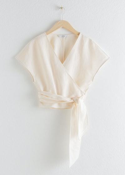 Linen Blend Wrap Top