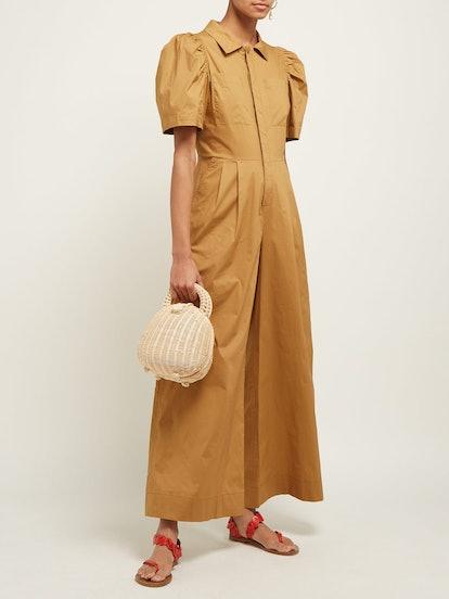 Sienna Puff-Sleeve Stretch-Cotton Jumpsuit