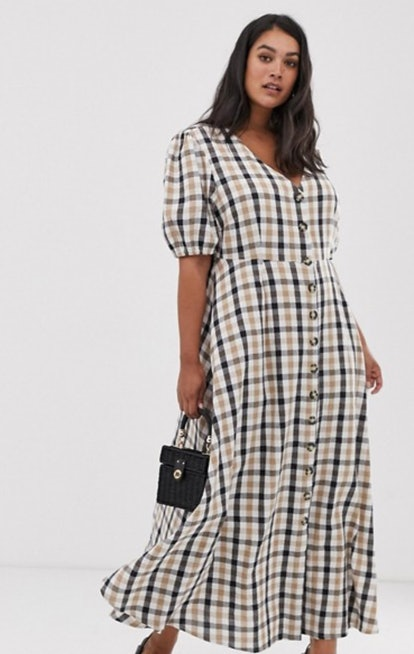 Neon Rose Plus Maxi Tea Dress with Puff Sleeves in Bold Check