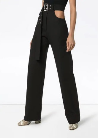 Cut-Out Belted Trousers