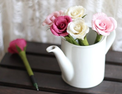 Rose Flower Pens, Set of 6 Assorted Colors