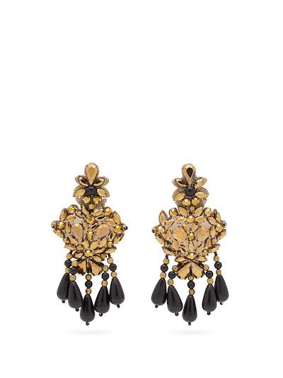 Beaded Crystal Chandelier Clip Earrings