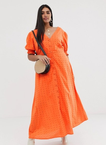 Neon Rose Plus Button Front Maxi Dress In Broderie