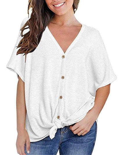 MIHOLL Loose V-Neck Buttoned Blouse