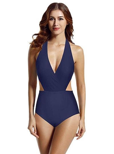 zeraca Halter One-Piece Monokini Swimsuit