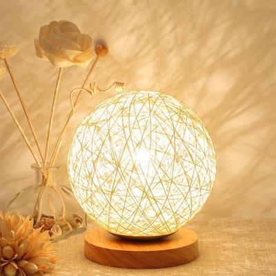 MaoJia Rattan Bedside Table Lamp
