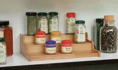Seville Classics 3-Tier Bamboo Spice Rack