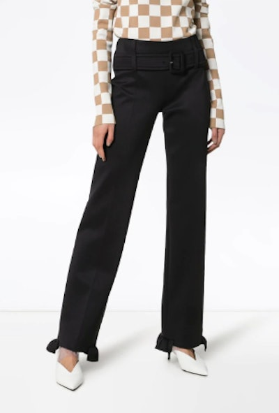 High Waisted Belted Ruffle Hem Trousers