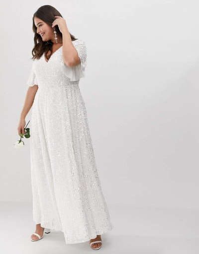 ASOS Curve Flutter Sleeve Sequin Maxi Wedding Dress
