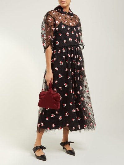 Anita Floral-Embroidered Tulle Dress