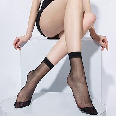 10 Pairs Women's Nylon Ankle Sheer Socks