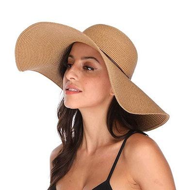 Lanzom Womens Wide Brim Floppy Straw Hat