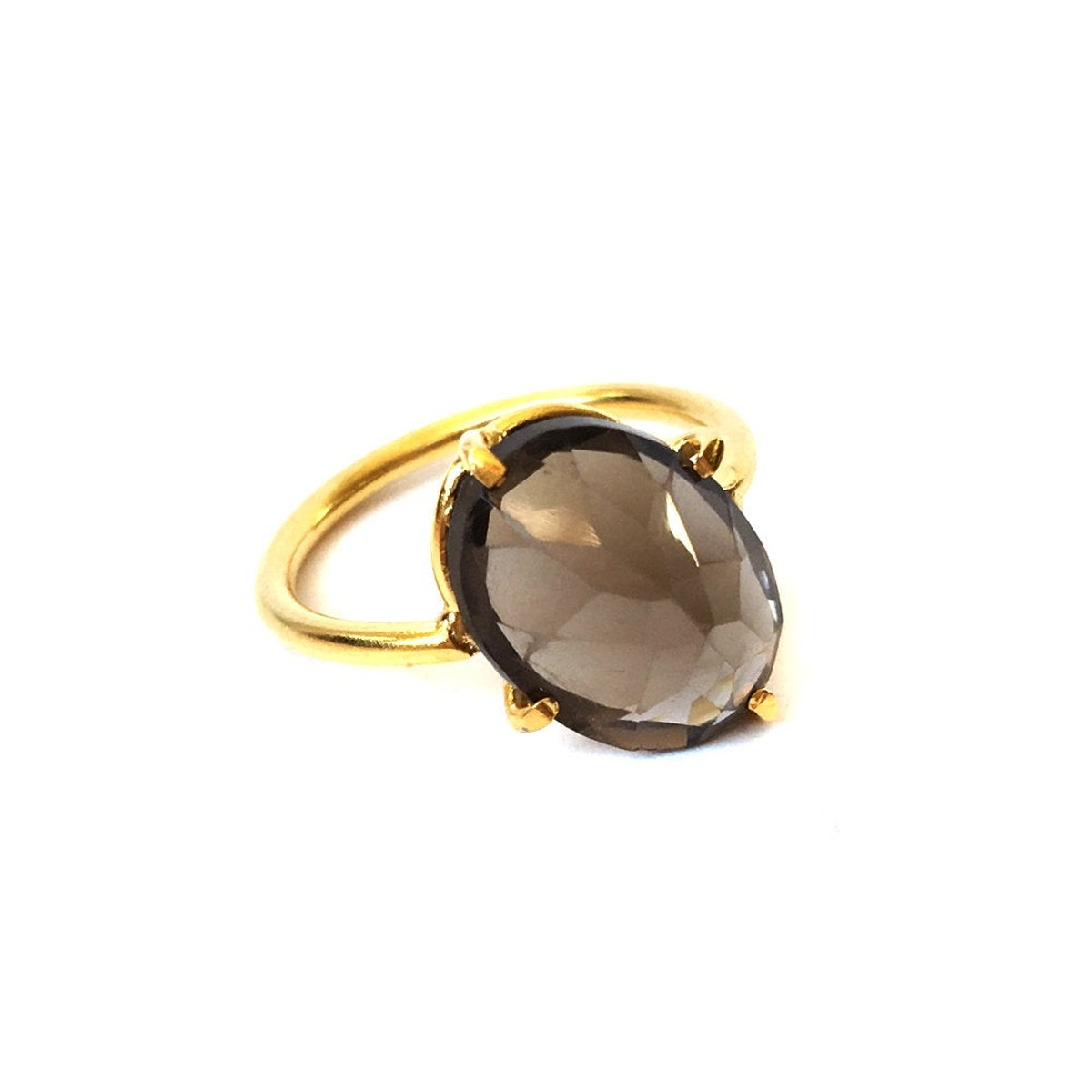 Smoky Quartz Ring With An Angled Claw Setting