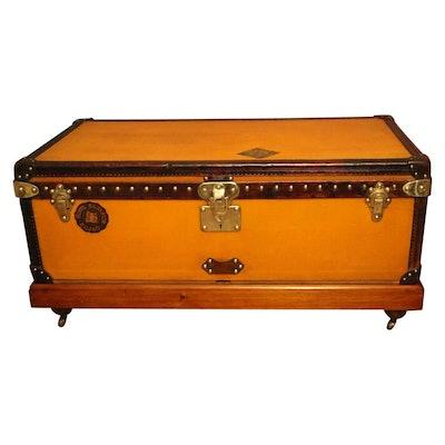 1900s Orange Canvas Louis Vuitton Steamer Trunk