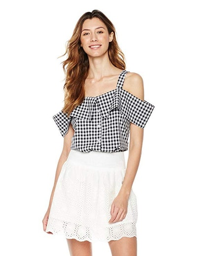 Plumberry Gingham Off-Shoulder Blouse