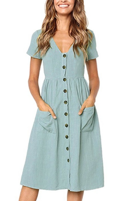 Angashion Button Midi Dress