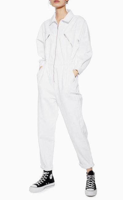 White Denim Utility Zip Boiler Suit