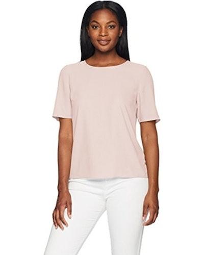 Lark & Ro Short Sleeve Woven Blouse
