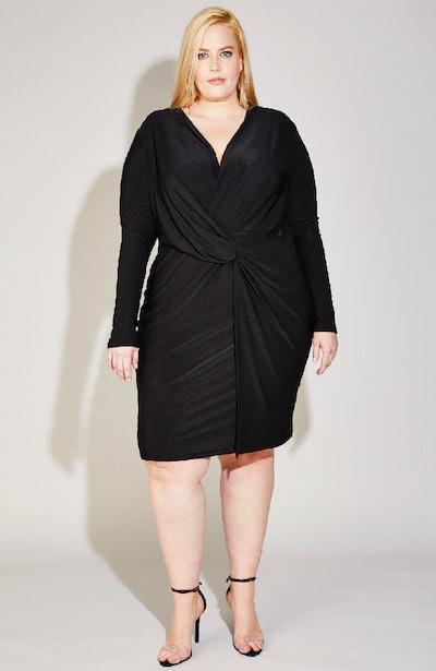Twist Front Dress In Black