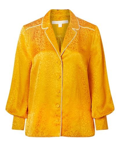Silk Leopard Buttoned Top