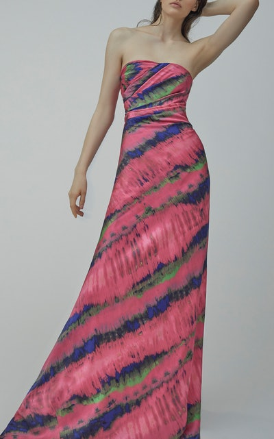 Patterned Strapless Gown