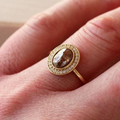 Rose Cut Oval Diamond Halo Ring
