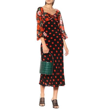 Josephine Polka-Dot Silk Dress