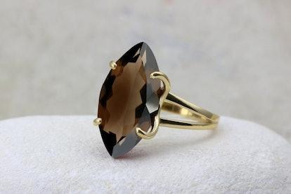 Smoky Quartz Marquise Cut Ring