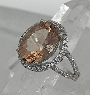 AAAA Brown Oval Morganite Ring