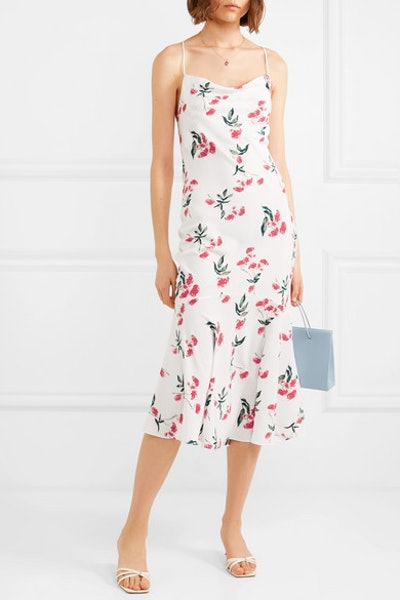 Robi Tie-Detailed Floral-Print Crepe De Chine Dress